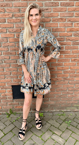 Paisley jurk Linne Zwart