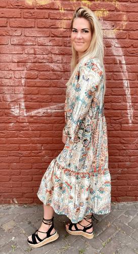 Paisley jurk Nomi Beige