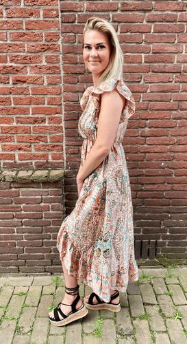 Paisley overslag jurk Iva Beige