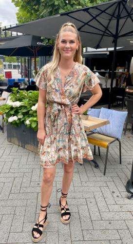 Paisley omslag jurk Mathilde Beige