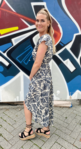 Overslag jurk bloemen Eveline Donkerblauw