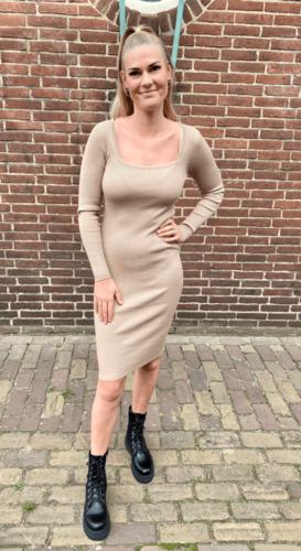 Rib jurk Wende Beige