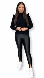 Leatherlook legging split Demi zwart