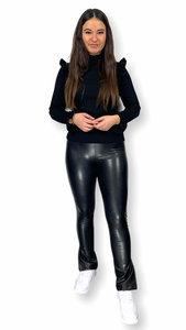 Leatherlook legging split Fem zwart